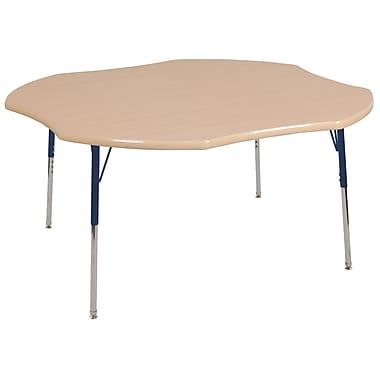 ECR4kids Toddler SG 48'' Clover Table, Maple/Maple/Navy (ELR14101MMNVTS)