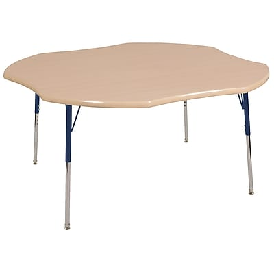 ECR4kids Toddler SG 48'' Clover Table, Maple/Maple/Navy (ELR14101MMNVTS)