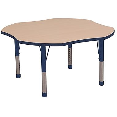 ECR4kids Chunky Legs 48'' Clover Table, Maple/Navy (ELR-14101-MNV-C)
