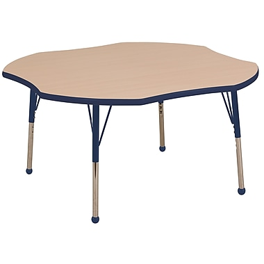 ECR4kids Toddler Ball Glide 48'' Clover Table, Maple/Navy (ELR14101MNVTB)