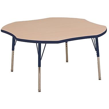 ECR4kids Standard Swivel Glide 48'' Clover Table, Maple/Navy (ELR14101MNVSS)