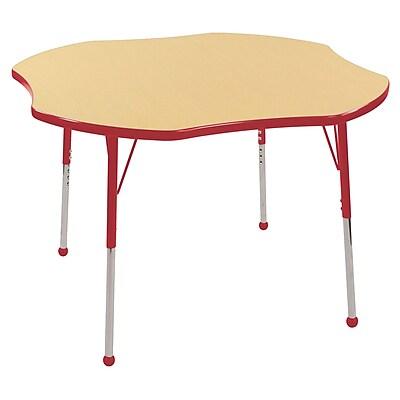 ECR4kids Toddler Ball Glide 48'' Clover Table, Maple/Red (ELR14101MRDTB)