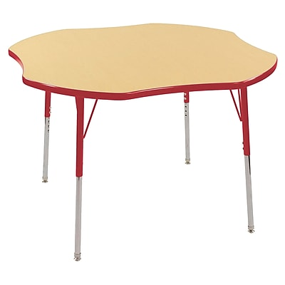 ECR4kids Toddler Swivel Glide 48'' Clover Table, Maple/Red (ELR14101MRDTS)