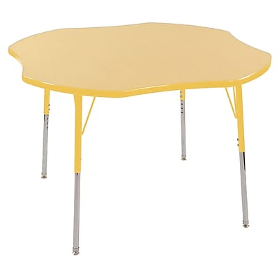 ECR4kids Toddler Swivel Glide 48'' Clover Table, Maple/Yellow (ELR14101MYETS)