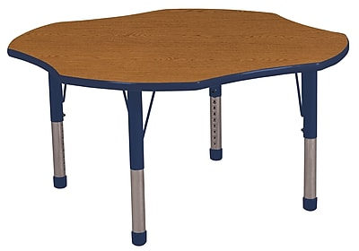 ECR4kids Chunky Legs 48'' Clover Table, Oak/Navy (ELR14101OKNVC)