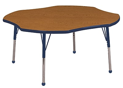 ECR4kids Toddler Ball Glide 48'' Clover Table, Oak/Navy (ELR14101OKNVTB)