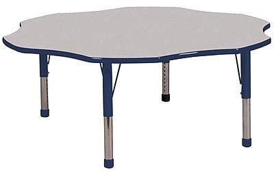 ECR4kids Chunky Legs 60'' Flower Table, Grey/Navy (ELR-14102-GNV-C)