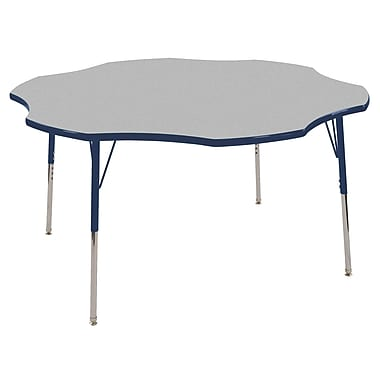 ECR4kids Toddler Swivel Glide 60'' Flower Table, Grey/Navy (ELR14102GNVTS)