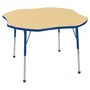 ECR4kids Toddler Ball Glide 60'' Flower Table, Maple/Blue (ELR14102MBLTB)