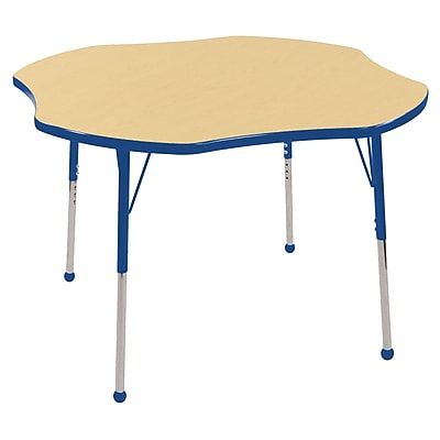 ECR4kids Standard Ball Glide 60'' Flower Table, Maple/Blue (ELR14102MBLSB)