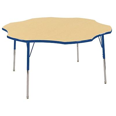ECR4kids Toddler Swivel Glide 60'' Flower Table, Maple/Blue (ELR14102MBLTS)