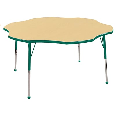ECR4kids Standard Ball Glide 60'' Flower Table, Maple/Green (ELR14102MGNSB)