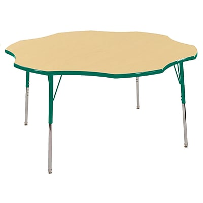 ECR4kids Toddler Swivel Glide 60'' Flower Table, Maple/Green (ELR14102MGNTS)