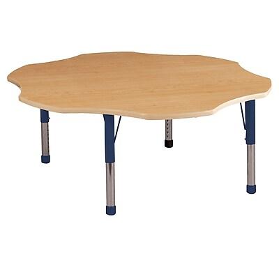 ECR4kids Chunky Legs 60'' Flower Table, Maple/Maple/Navy (ELR14102MMNVC)