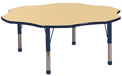 ECR4kids Chunky Legs 60'' Flower Table, Maple/Navy (ELR-14102-MNV-C)
