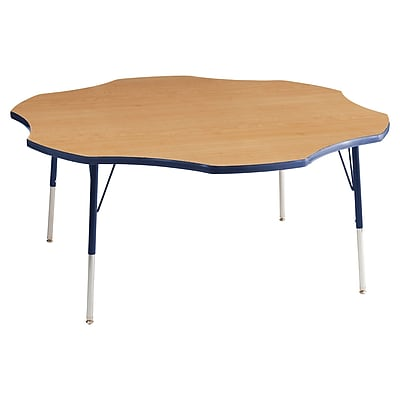 ECR4kids Standard Swivel Glide 60'' Flower Table, Maple/Navy (ELR14102MNVSS)