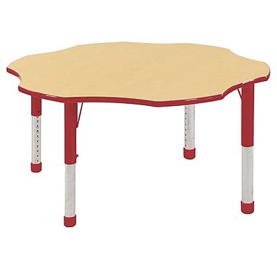 ECR4kids Chunky Legs 60'' Flower Table, Maple/Red (ELR-14102-MRD-C)