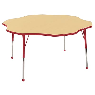 ECR4kids Standard Ball Glide 60'' Flower Table, Maple/Red (ELR14102MRDSB)