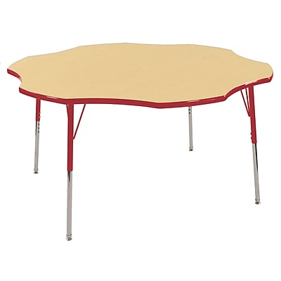ECR4kids Standard Swivel Glide 60'' Flower Table, Maple/Red (ELR14102MRDSS)