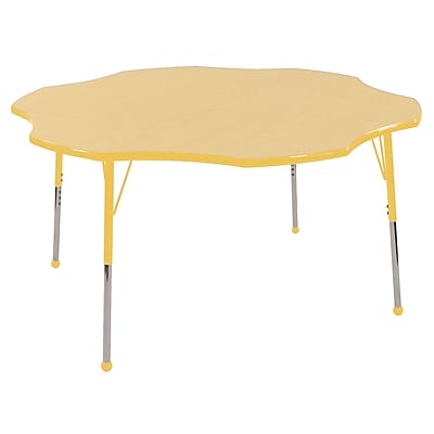 ECR4kids Toddler Ball Glide 60'' Flower Table, Maple/Yellow (ELR14102MYETB)