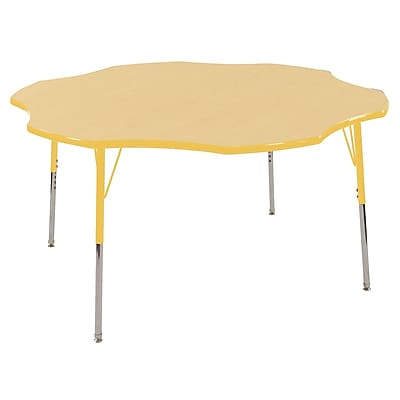 ECR4kids Toddler Swivel Glide 60'' Flower Table, Maple/Yellow (ELR14102MYETS)