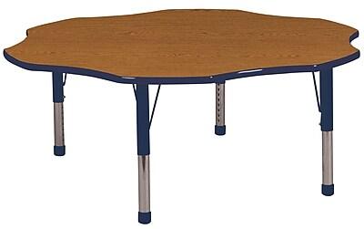 ECR4kids Chunky Legs 60'' Flower Table, Oak/Navy (ELR14102OKNVC)