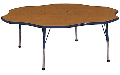ECR4kids Standard Ball Glide 60'' Flower Table, Oak/Navy (ELR14102OKNVSB)