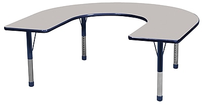 ECR4kids Chunky Legs 66'' Horseshoe Table, Grey/Navy (ELR-14103-GNV-C)