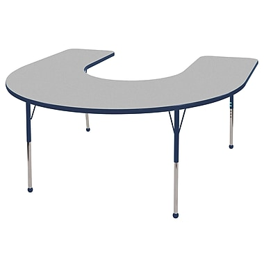 ECR4kids Standard Ball Glide 66'' Horseshoe Table, Grey/Navy (ELR14103GNVSB)