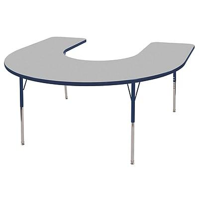 ECR4kids Toddler Swivel Glide 66'' Horseshoe Table, Grey/Navy (ELR14103GNVTS)