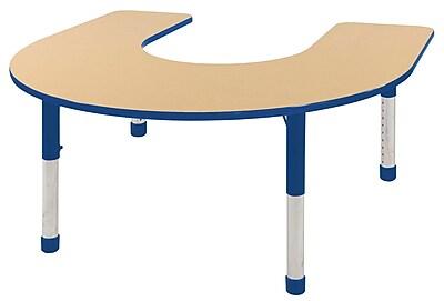 ECR4kids Chunky Legs 66'' Horseshoe Table, Maple/Blue (ELR-14103-MBL-C)