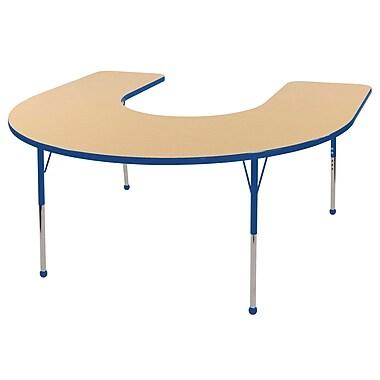 ECR4kids Standard Ball Glide 60'' Horseshoe Table, Maple/Blue (ELR14103MBLSB)