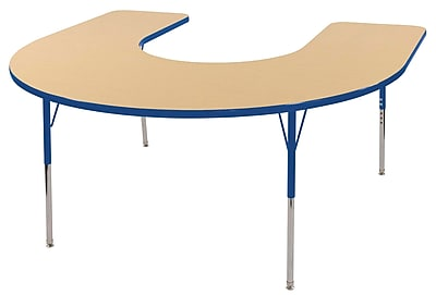 ECR4kids Standard Swivel Glide 66'' Horseshoe Table, Maple/Blue (ELR14103MBLSS)