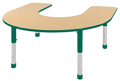 ECR4kids Chunky Legs 66'' Horseshoe Table, Maple/Green (ELR-14103-MGN-C)