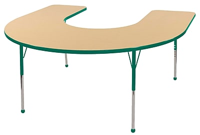 ECR4kids Toddler Ball Glide 66'' Horseshoe Table, Maple/Green (ELR14103MGNTB)
