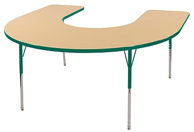 ECR4kids Standard Swivel Glide 66'' Horseshoe Table, Maple/Green (ELR14103MGNSS)