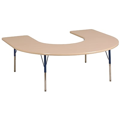 ECR4kids Toddler SG 60'' Horseshoe Table, Maple/Maple/Navy (ELR14103MMNVTS)