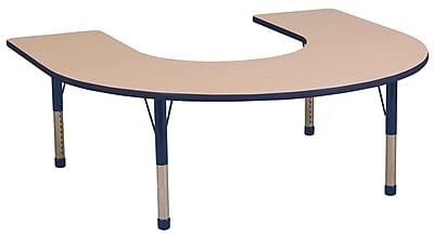 ECR4kids Chunky Legs 66'' Horseshoe Table, Maple/Navy (ELR-14103-MNV-C)