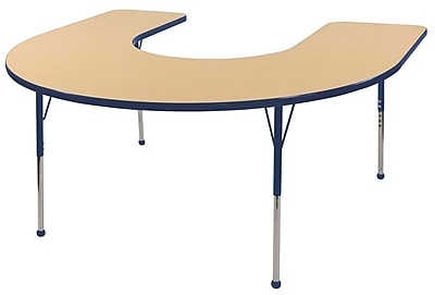 ECR4kids Standard Ball Glide 60'' Horseshoe Table, Maple/Navy (ELR14103MNVSB)