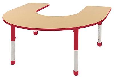 ECR4kids Chunky Legs 66'' Horseshoe Table, Maple/Red (ELR-14103-MRD-C)