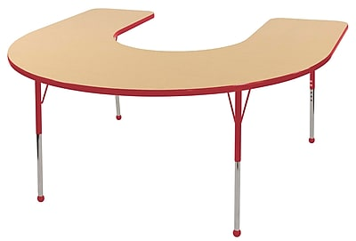 ECR4kids Standard Ball Glide 66'' Horseshoe Table, Maple/Red (ELR14103MRDSB)
