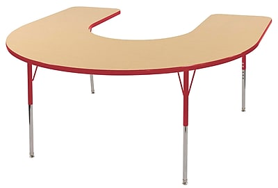 ECR4kids Toddler Swivel Glide 66'' Horseshoe Table, Maple/Red (ELR14103MRDTS)