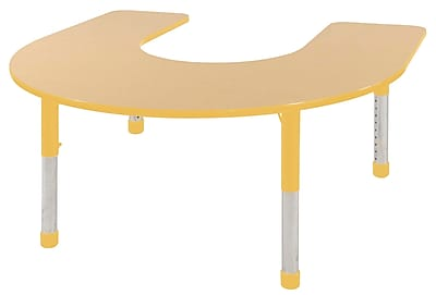 ECR4kids Chunky Legs 60'' Horseshoe Table, Maple/Yellow (ELR-14103-MYE-C)