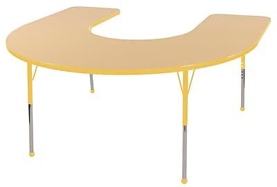 ECR4kids Standard Ball Glide 60'' Horseshoe Table, Maple/Yellow (ELR14103MYESB)