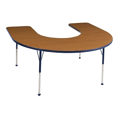 ECR4kids Standard Ball Glide 66'' Horseshoe Table, Oak/Navy (ELR14103OKNVSB)