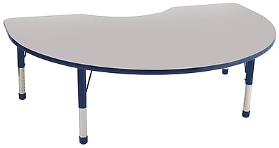 ECR4Kids T-Mold Kidney Table Grey/Navy-Chunky Legs (ELR-14104-GNV-C)