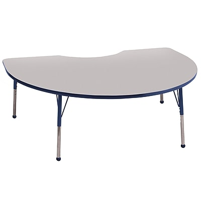 ECR4Kids T-Mold Kidney Table Grey/Navy-Standard Ball Glide (ELR-14104-GNV-SB)
