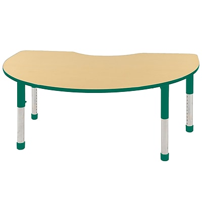 ECR4Kids T-Mold Kidney Table Maple/Green-Chunky Legs (ELR-14104-MGN-C)