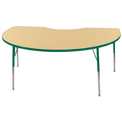 ECR4Kids T-Mold Kidney Table Maple/Green-Standard Swivel Glide (ELR-14104-MGN-SS)