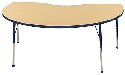ECR4Kids T-Mold Kidney Table Maple/Navy -Standard Ball Glide (ELR-14104-MNV-SB)